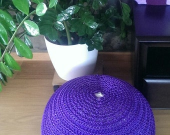 Crochet pouf with a bean bag bead filling. Great stylish decor for home. Nice gift.