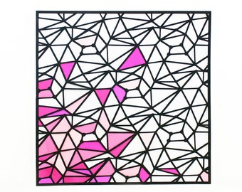 "Geometric Shapes with Pink Accents 12""x12"" Original Handmade Diecut Portrait"