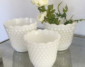 Milk Glass | Collection of 3 Hobnail Compotes