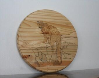 Wood Burn Art / Mountain Lion Burned on Spruce Round