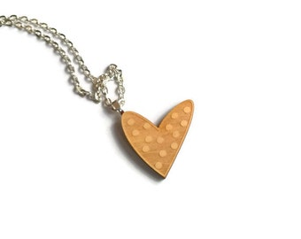 Wood heart necklace, laser cut wood necklace, heart pendant, wood heart pendant, polka dot heart necklace, wood jewelry, wooden love heart