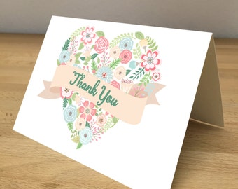 Personalized Note Cards - Flower Heart