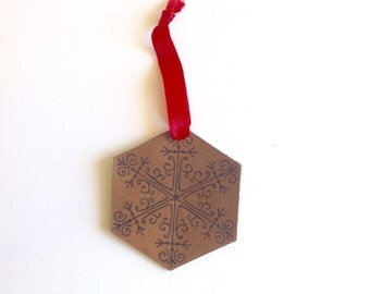 Snowflake Christmas tree ornament, leather ornament, snowflake design