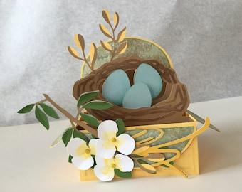 Bird's nest greeting card - 3D - Pop Up