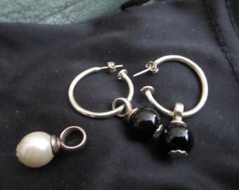 Sterling Silver Hoop Earrings with Interchangeable Jewellery