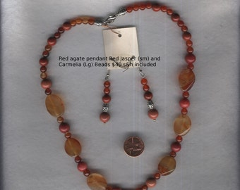 Red agate pendant  with Red Jasper (sm) and Carmelia (lg) beads, matching earrings, Flashy not Tacky. 40 bucks free s/h
