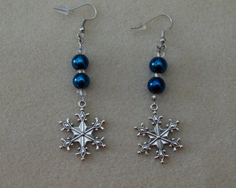 Blue Bead with Snowflake Charm