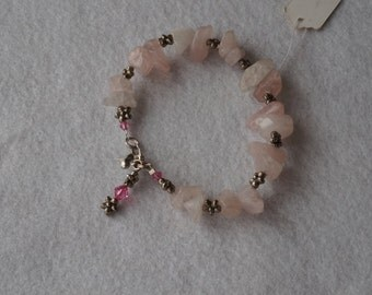 Rose quartz and Bali silver  flower bracelet