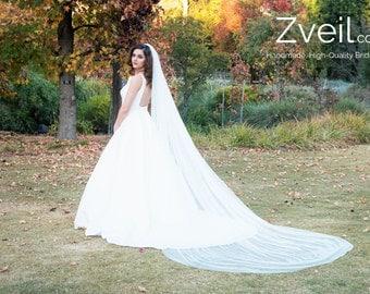 Plain Cathedral Length Wedding Veil