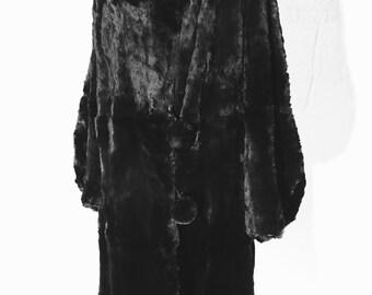 Vintage Black Rabbit Fur Long Coat - Large 20s 30s 60s Burning Man Art Deco