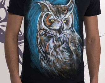 T-shirt  OWL ,Painting,Hand-made,Gift,Summer