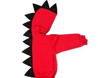 Red Toddler Dino Hoodie Gift  - Dinosaur Hoodie, Dragon Hoodie,  Baby Dragon Costume, Dragon Baby Shower, Dragon Birthday Gift