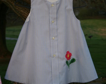 Blue and White Check Dress/Jumper with Flower Applique