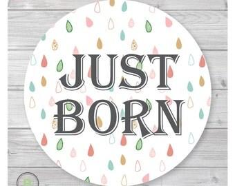 Newborn Monthly Baby Sticker - Just Born - Scandinavian Rain Design by Baby Lookback