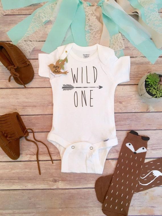 First Birthday Boy Wild e esie Boho Baby Clothes Cute