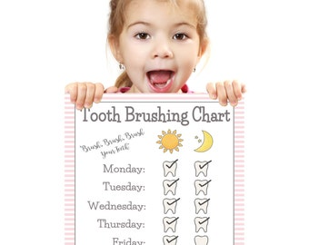 PRINTABLE- GIRLS TOOTH Brushing Chart- Young Child/Toddler Tooth Brush Chart