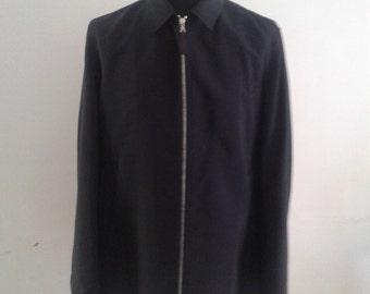 Prada Casual Navy Zip Up Mohair Jacket size XL