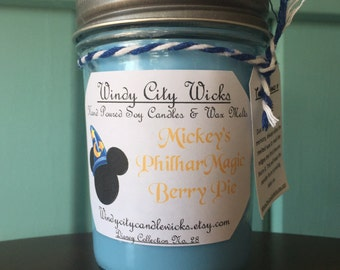 Disney Themed Soy Candle- Mickey's PhilharMagic Berry Pie