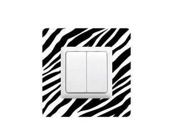 Zebra wall sticker around switch