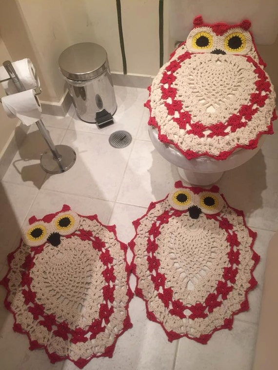 Bathroom Decor Crochet Set Toilet Seat Cover By
