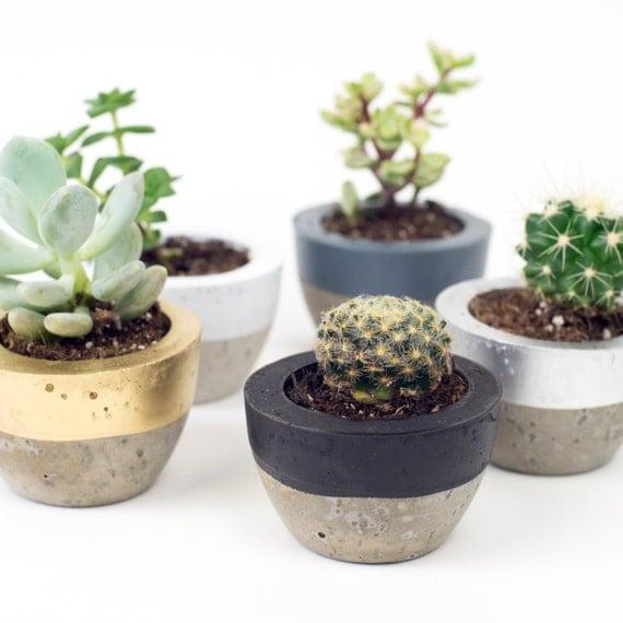 Mini Colour Block Concrete Pot.