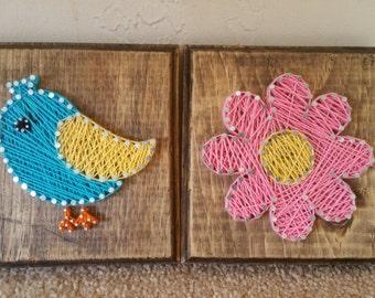 Handmade Bird and Flower Thread Art