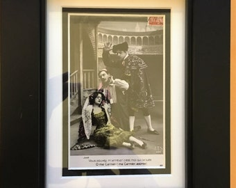 Framed 100+ Year Old Postcard from France - Opera Carmen