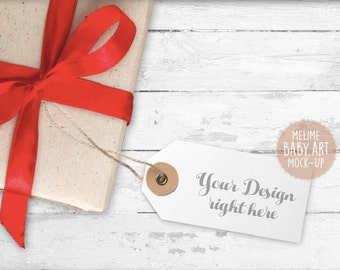 Gift Tags Mock-Up, Christmas Tag Mockup, Red Bow Gift Tags photography Mockup, Wood Background Tag Mock Up, Set of Two Gift Tags Stock