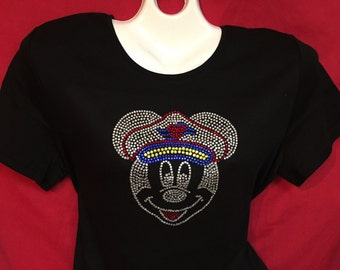 Captain Mickey Mouse Disney Cruise Line Rhinestone crystal womens Pirate Mickey SHORT LONG Sleeve Misses S, M, L, XL, Plus size 1X, 2X, 3X