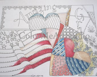 Americana Coloring Page, Adult Coloring Page, Stars and Stripes Coloring Page, Printable download, American Flag Coloring Page, Patriotic