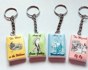 Children's classic mini book key ring / key chain.