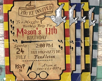 Harry Potter Inspired  Personalized Birthday  Printable Invitation Print at Home