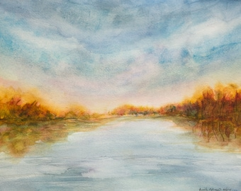 Fall - printed art, watercolor painting, landscape, marsh, water, orange, clouds, sky