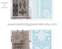 4 sheets of Metallic and Henna flash tattoos  ** 2 sheets metallic & 2 sheets white henna lace