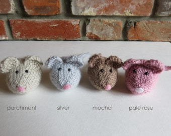 Soft Brown / Grey / Pink Hand Knitted Mouse