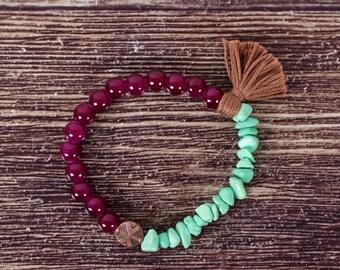 Elastic bracelet Mint & plum