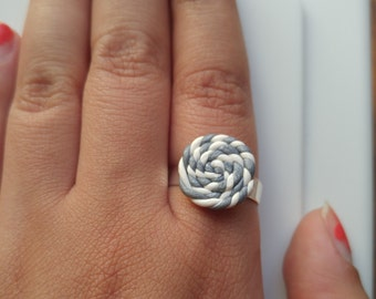 Silver and White Spiral Adjustable Polymer Clay Ring