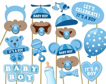 Baby Shower Photo Props - It's a Boy Photo Booth Props - Printable ...