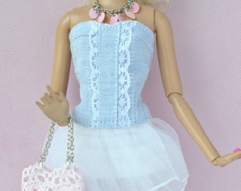 Beautiful handmade top, skirt,necklece,earings and bag for Barbie dolls