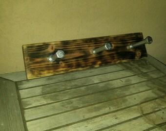Rustic Burnt Wood Coat Rack