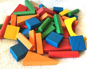 Wooden Building Blocks for Childrens Pretend Play Multi Color 45 pc