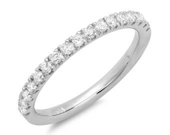 Diamond Wedding Band, White Gold Wedding Ring, 14k, 18k, Platinum