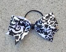 RTS Pony O Bow, Black and White Damask Print, Girls Bows, Hair Bows