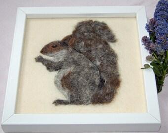 Original Needle Felted Framed Squirrel Art, Wool Painting, Fiber Art, Framed Textile Art, Squirrel, Needle Felted Squirrel, Ready to Ship