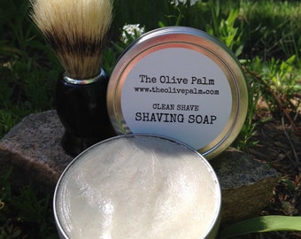 Clean Shave Shaving Soap with Free Shaving Brush!  FREE Gift Wrap!
