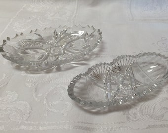 Pair Antique Glass Oval Bowls