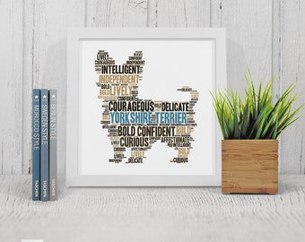 Printable Personalised Yorkshire Terrier Print For Dog Lovers   Personalized Word Art   Bespoke Gift   Digital File   Print Yourself