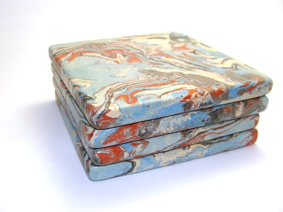 Items Similar To Marble Coasters Drink Coaster Set Of 3