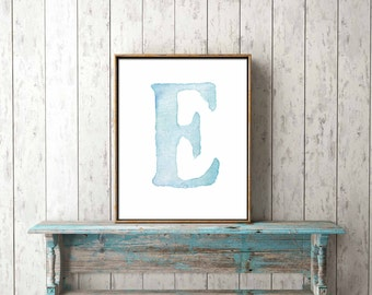 Digital Print Poster - CUSTOMISED MONOGRAM BLUE - nursery, gift, new baby, boy, girl, wall art, dedication, baptism, christening, naming
