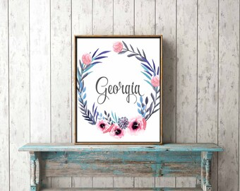 DIGITAL PRINT DOWNLOAD - *Customised* name - nursery, gift, new baby, girl bedroom, wall art, dedication, baptism, christening, naming
